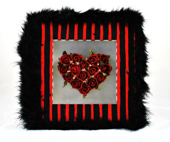 Shadowbox - A Rosy Heart - Dark Home Decor - Goth - Romantic - Burtonesque