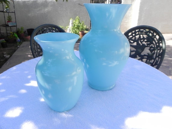 Painted glass vases... set of 2 large and small