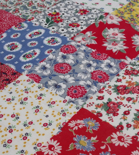 16 vintage feedsack 6-inch squares from the 1940s-1950s in red