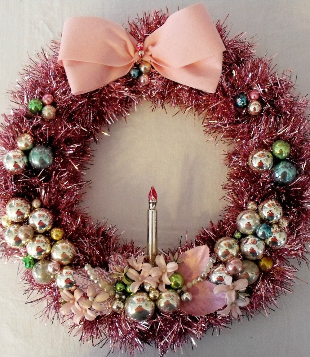 Pink tinsel wreath with vintage ornaments and millinery How to decorate a christmas tree without tinsel