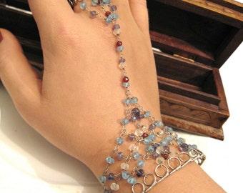 Bi Harusi -  sterling silver and gemstone bracelet ring