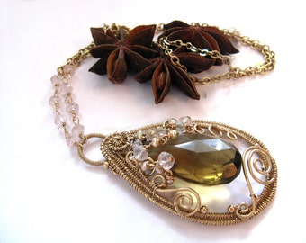 Haydee - Intricate gold filled necklace with rose quartz, pearl and whiskey quartz
