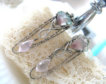 Watermelon -Sterling silver, pink and watermelon tourmaline and rose quartz earrings