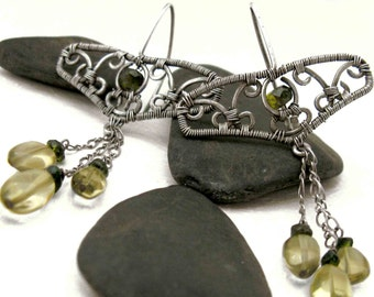 The deco twins - earrings with vesuvianite tourmaline smoky lemon quartz and silver