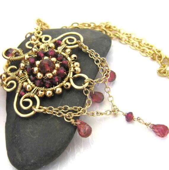 Temple - Gold filled garnet necklace