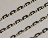 10 ft of fancy brass soldered links chain - Black/gold colors 2X4mm (Lead safe/Nickel Safe)