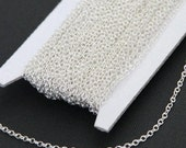 32 ft spool of Silver plated Brass round cable chain 2X2.5mm
