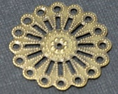 SALE ---- 20 pcs of Antiqued brass over steel filigree focal findings 25mm