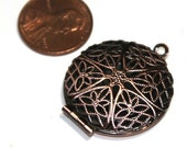 20 pcs of antiqued Copper filigree Locket Charm Pendant 27x32mm