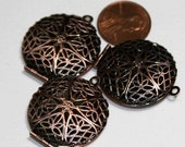 30 pcs of antiqued Copper filigree Locket Charm Pendant 27x32mm