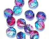50 pcs of two tone Blue /Pinkpressed glass beads 8mm