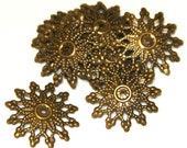 Wholesale  500  pcs of Antiqued brass filigree findings 16mm