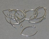 100 pcs of Sterling silver leaf earwire 13X11mm - 22 gauge Hand made in USA