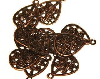 50 pcs of Antiqued copper filigree drops 17x12mm