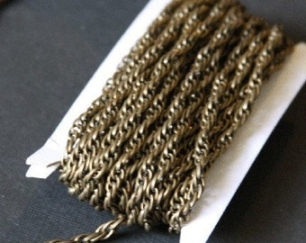 15 ft of Antiqued Brass plated rope chain 3X3.5mm