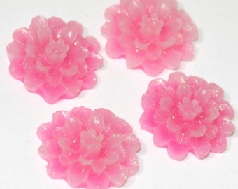 6 pcs of Acrylic flower Cabochons 20mm Pink AB