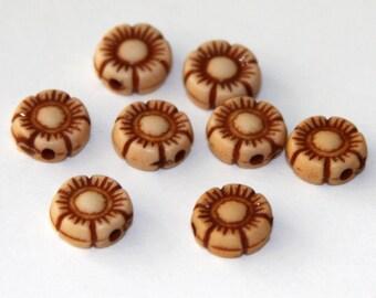 50 pcs of Resin flower beads 10mm