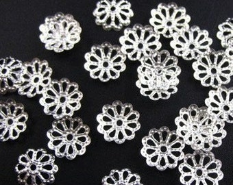 144 pcs of silver plated filigree beads cap 9mm