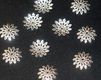 100 pcs of silver plated flat filigree bead cap- fits 12-14mm
