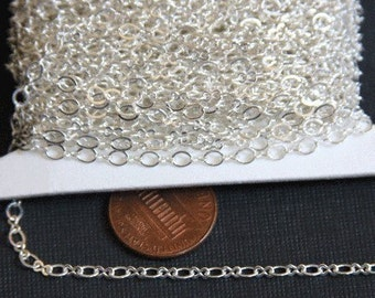 32ft spool of Silver Plated figure 8 connector chain 2.9X3.3mm