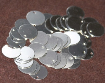 100 pcs of silver plated brass coin disc 15mm