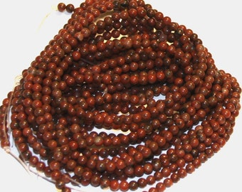 2x16 inches strand of Red sesame Jasper round 4mm