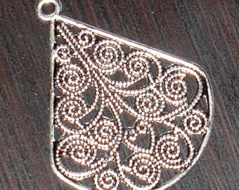 5x10 pcs of antiqued silver-plated brass filigree teardrop 30x23mm