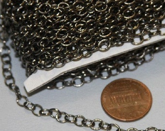100 ft of Gunmetal round cable chain 4X5mm - Soldered Links