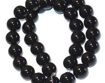 16 inch strand of Black Onyx round beads A Grade  10mm