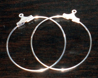 50 pcs---------- of silver plated brass hoops 30mm