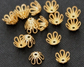 100 pcs of gold plated  flower beadcap 7mm