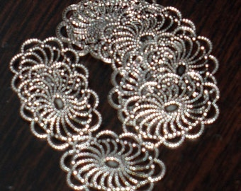 Bulk 100 pcs of  antiqued Silver plated brass  filigree oval 26x19mm