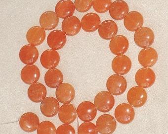 16 inches strand of Peach Aventurine Coin 12mm