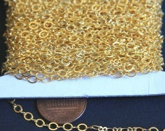 300 ft spool of Gold Plated Chain Figure 8 Connector Chain 2.9X 3.3mm links , gold chain, brass chain