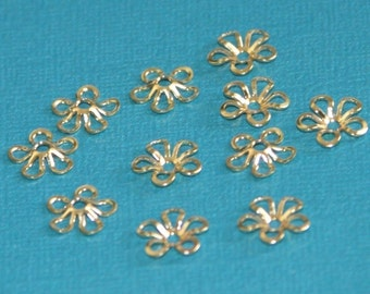 50 pcs of Gold plated brass flower beads cap 9mm