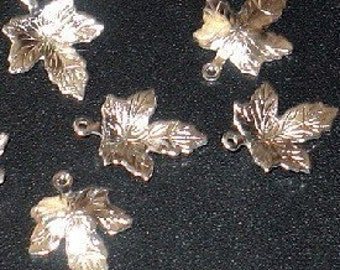 50 pcs of silver-plated maple leaf drop 15.5X12mm