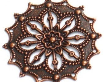 10 pcs of Antiqued copper filigree flower finding 34mm