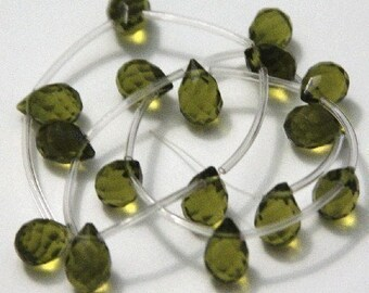 16 pcs of Olive glass quartz faceted teardrop beads 8X10mm