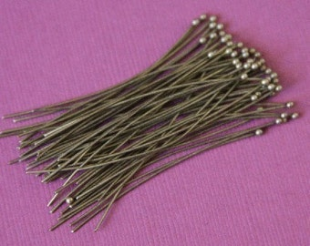 100pcs of Antiqued Brass Ball end headpin - 22G - 1.75 inch