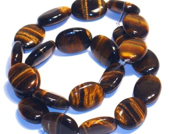16 inch Strand of TIGER EYE flat oval beads 13X18mm