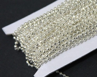 100 ft of high quality Silver plated brass faceted ball chain 2.4mm