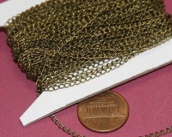 32 ft spool of Antiqued Brass curb Chain 1.8X2.8mm - Soldered Links