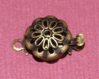 10 pcs of Antiqued Brass flower shape clasp 9mm