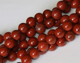 16 inch strand of 8mm Red Jasper round beads
