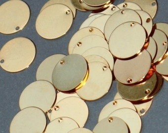 100 pcs of gold-plated brass coin drop 12mm