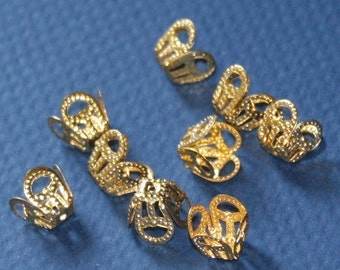 100 pcs of gold plated filigree bead cap 8mm