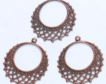 10 pcs of Antiqued copper filigree  round 25mm