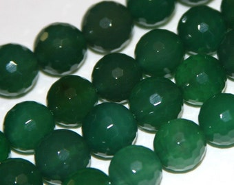 16 inch strand of Dark Green Agate faceted round beads 10mm