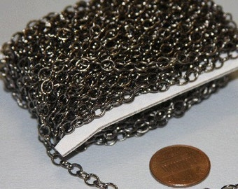 10ft of Gunmetal round cable chain 4X5mm - Soldered Links