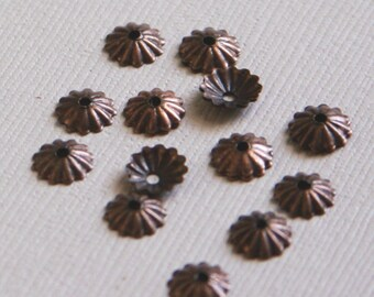 200 pcs of Antiqued Copper plated brass ribbed beads cap 6mm